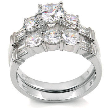 Sterling Silver Round cut CZ Three Stone Wedding Ring Set size 5-9 by Blades and Bling Sterling Silver Jewelry