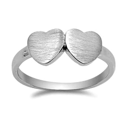 .925 Sterling Silver Twin Double Heart Ring Ladies size 4-10 by  Blades and Bling Sterling Silver Jewelry