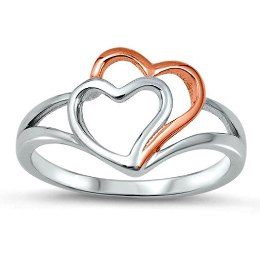 .925 Sterling Silver and Rose Gold Double Open Heart Ring Ladies Size 4-10 by  Blades and Bling Sterling Silver Jewelry