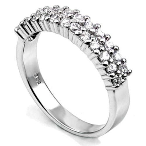 Sterling Silver CZ Two Row Wedding Band Ring size 5-9 - Blades and Bling Sterling Silver Jewelry