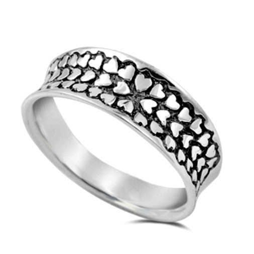 Womens wide band heart ring