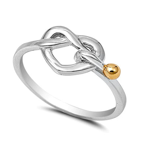 .925 Sterling Silver and Yellow Gold Infinity Heart Knot Ring Ladies size 5-10 by  Blades and Bling Sterling Silver Jewelry