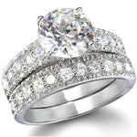 Sterling Silver 3.25 carat Round Cut CZ Big Bling Wedding Ring set size 4-9
