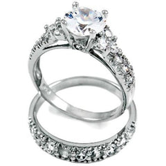 Sterling Silver Wedding Ring Set with Simulated Diamond CZ Engagement Ring and Band size 4-11 by  Blades and Bling Sterling Silver Jewelry