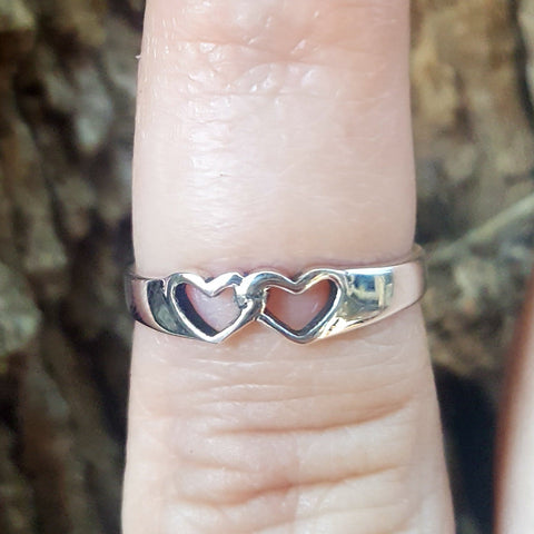 .925 Sterling Silver Double Heart Kids and Ladies ring size 3-10