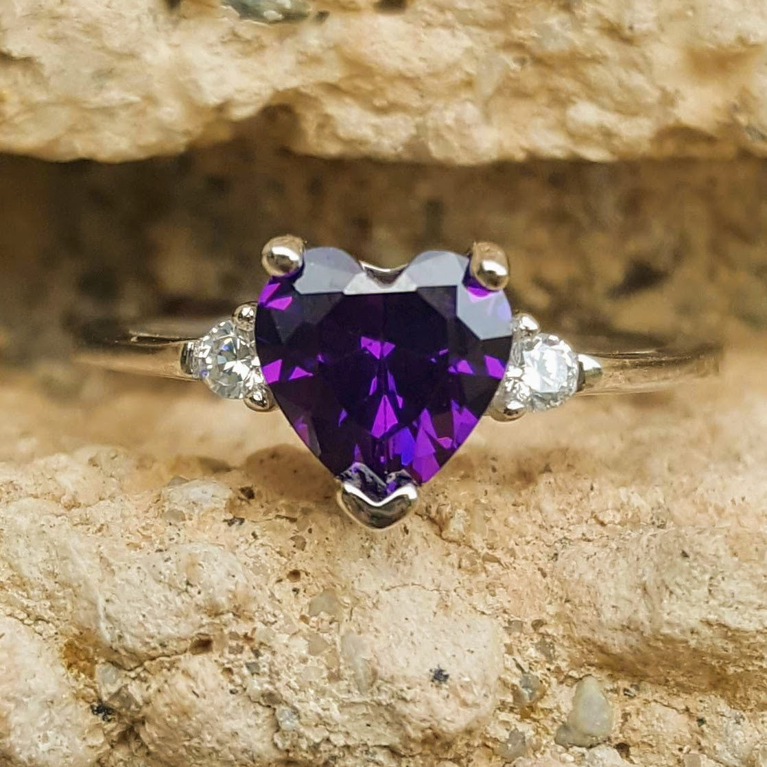 Sterling Silver Amethyst Heart cut Kids and Ladies ring size 3-12