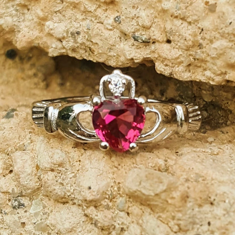 .925 Sterling Silver Rose Pink CZ Claddagh Ring Size 4-12