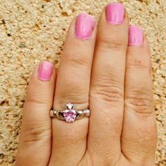 .925 Sterling Silver Pink Topaz CZ Claddagh Ring Size 4-12