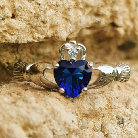 .925 Sterling Silver Blue Sapphire CZ Claddagh Ring Size 3-12