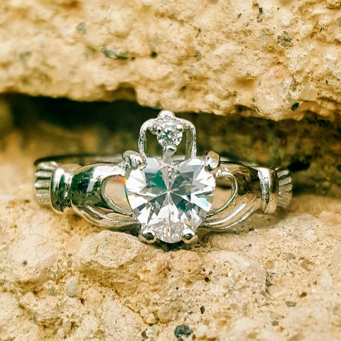 .925 Sterling Silver Clear White CZ Claddagh Ring Size 3-13
