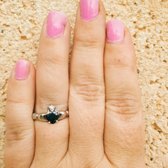.925 Sterling Silver Onyx Black CZ Claddagh Ring Ladies Size 3-12