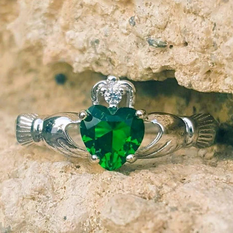 .925 Sterling Silver Emerald Green CZ Claddagh Ring Ladies Size 3-12