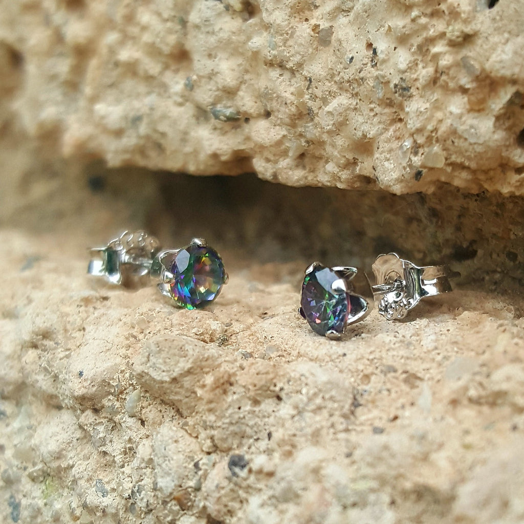 .925 Sterling Silver Brilliant Round Cut Rainbow Mystic Topaz CZ Stud Earrings in 3mm-10mm