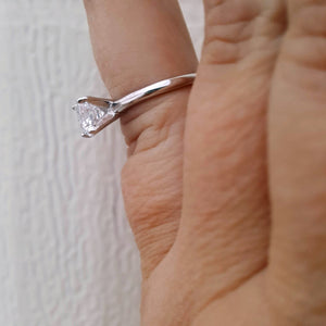 .925 Sterling Silver Ladies bridal 1 ct. solitaire ring on finger with side view