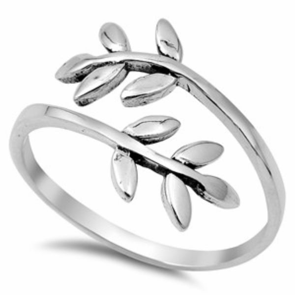 .925 Sterling Silver Leaf Wrap Band Ladies Fashion Ring Size 5-10 - Blades and Bling Sterling Silver Jewelry