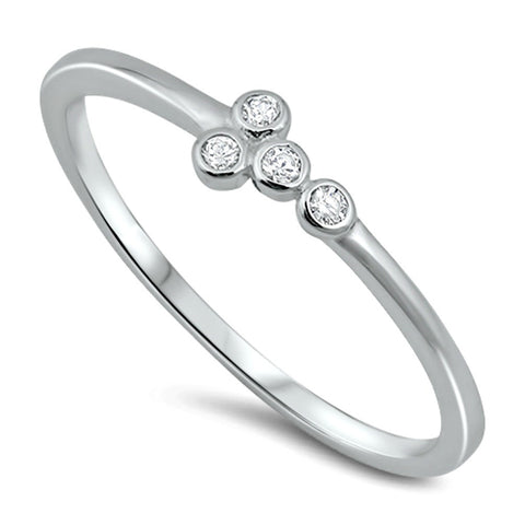 .925 Sterling Silver CZ Christian Cross Sideways Ladies Fashion Ring Size 2-10