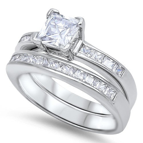 Sterling Silver CZ 1 carat Princess Cut Channel Set Band Wedding Ring Set 5-10 - Blades and Bling Sterling Silver Jewelry