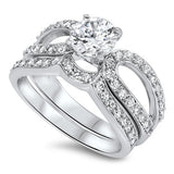 Sterling Silver CZ 1 carat Brilliant Round Cut Open Band  Wedding Ring Set 5-10 - Blades and Bling Sterling Silver Jewelry