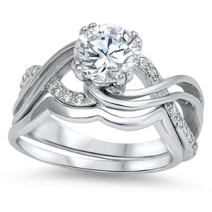 Sterling Silver CZ 1.25 carat Rhodium Brilliant Round Cut Infinity Wedding Ring Set 5-10 - Blades and Bling Sterling Silver Jewelry