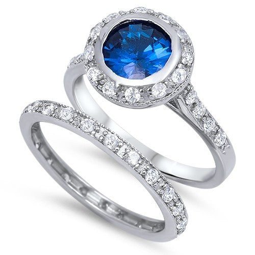 Sterling Silver CZ 2 carat Brilliant Round Cut Halo Blue Sapphire Eternity Wedding Ring Set 5-10 by  Blades and Bling Sterling Silver Jewelry