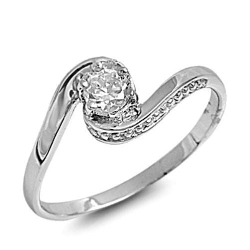 Sterling Silver CZ Engagement Ring size 4-9 - Blades and Bling Sterling Silver Jewelry