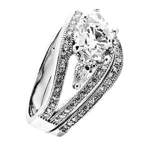 Sterling Silver Round cut and Teardrop CZ Three Stone Split Shank Wedding Ring Set Size 5 6 7 8 9 - Blades and Bling Sterling Silver Jewelry