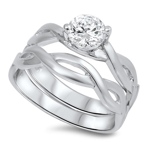 Sterling Silver CZ Infinity Band Solitaire Wedding Ring Set 510