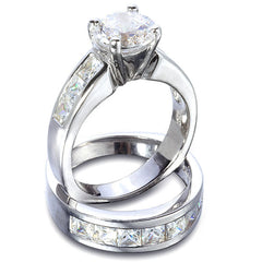 Sterling Silver 1.5 carat Round cut CZ Channel set Wedding Ring Set Size 4-11