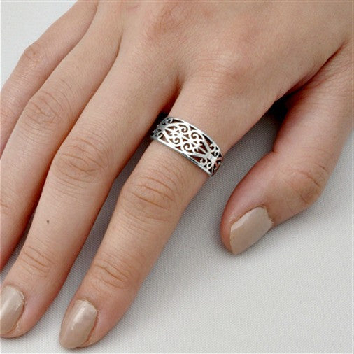 .925 Sterling Silver Double Heart Celtic Ring Band Ladies and Mens size 5-10