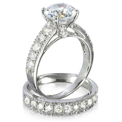 Sterling Silver 3.25 carat Round Cut CZ Big Bling Wedding Ring set size 4 5 6 7 8 9 - Blades and Bling Sterling Silver Jewelry