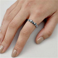 .925 Sterling Silver Flower and Heart Wide Band Ring Ladies Size 4-10