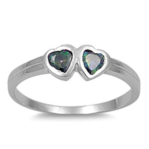 Sterling Silver Rainbow Mystic Topaz CZ Twin Heart Ring Size 1-5 by Blades and Bling Sterling Silver Jewelry