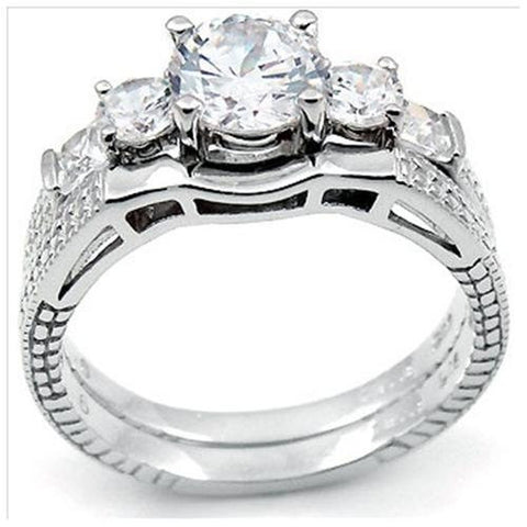 Sterling Silver Round Cut Three Stone Engagement Ring And Plain Band Wedding Set Size 5