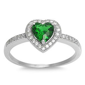Sterling Silver Halo Green Emerald CZ Heart Engagement Ring size 4-10 - Blades and Bling Sterling Silver Jewelry