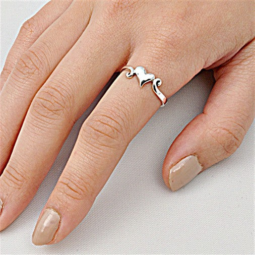 .925 Sterling Silver Loving Heart Ring Ladies size 4-10