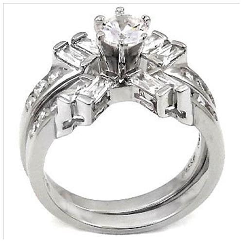 Sterling Sterling Round cut and Baguette CZ Wedding Ring Set size 5-9 by  Blades and Bling Sterling Silver Jewelry