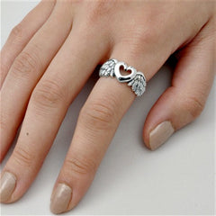 .925 Sterling Silver Angel Wings Heart Ring Ladies Size 5-12 by  Blades and Bling Sterling Silver Jewelry