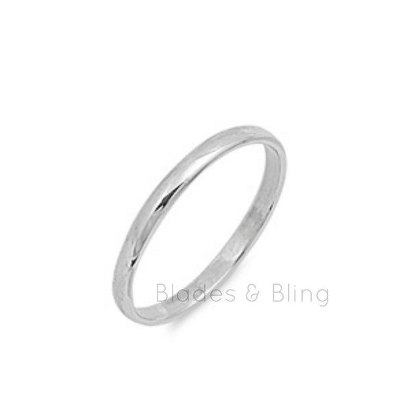 .925 Sterling Silver Plain Band for Kids, Ladies, and Men Size 2-13 - Blades and Bling Sterling Silver Jewelry