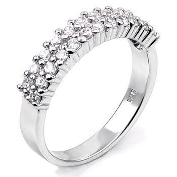 Sterling Silver Round Cut CZ Double Row Wedding Band Size 5-10 by Blades and Bling Sterling Silver Jewelry