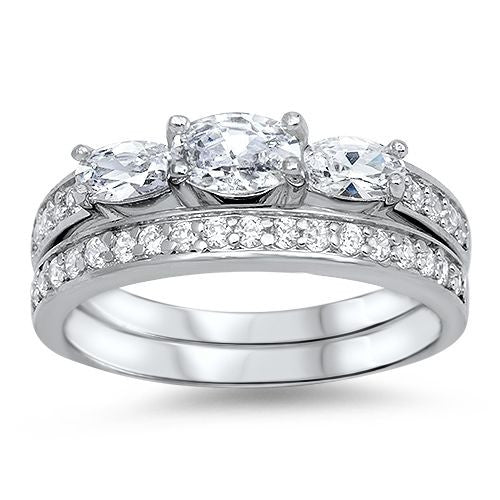 Sterling Silver CZ .25 carat Pave Three-Stone Oval Cut Wedding Ring Set 5-10 - Blades and Bling Sterling Silver Jewelry