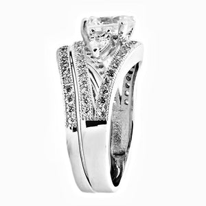 Sterling Silver Round cut and Teardrop CZ Three Stone Split Shank Wedding Ring Set Size 5-9 by Blades and Bling Sterling Silver Jewelry