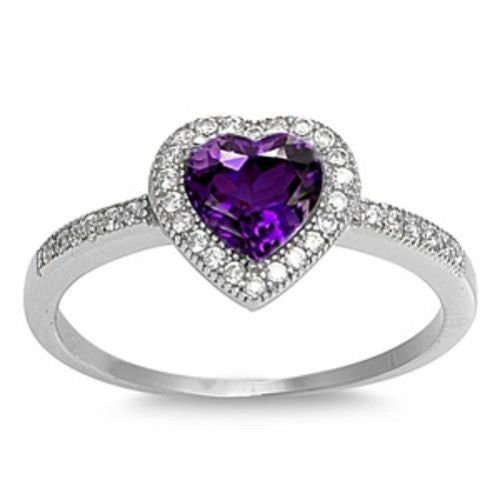 Sterling Silver Halo Amethyst CZ Heart Engagement Ring size 4-10 - Blades and Bling Sterling Silver Jewelry