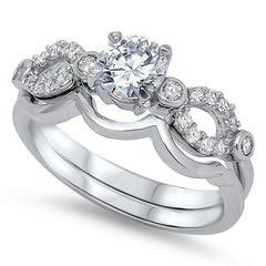Sterling Silver CZ 1 carat Brilliant Round Cut Open Band Engagement Wedding Ring Set Size 5-10