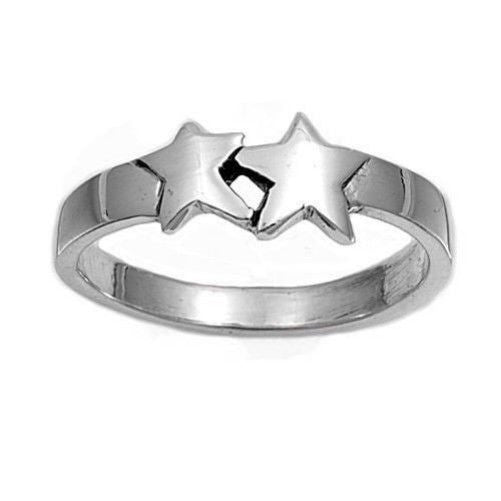 Sterling Silver CZ 2 Stars Ring Size 1-5 by  Blades and Bling Sterling Silver Jewelry