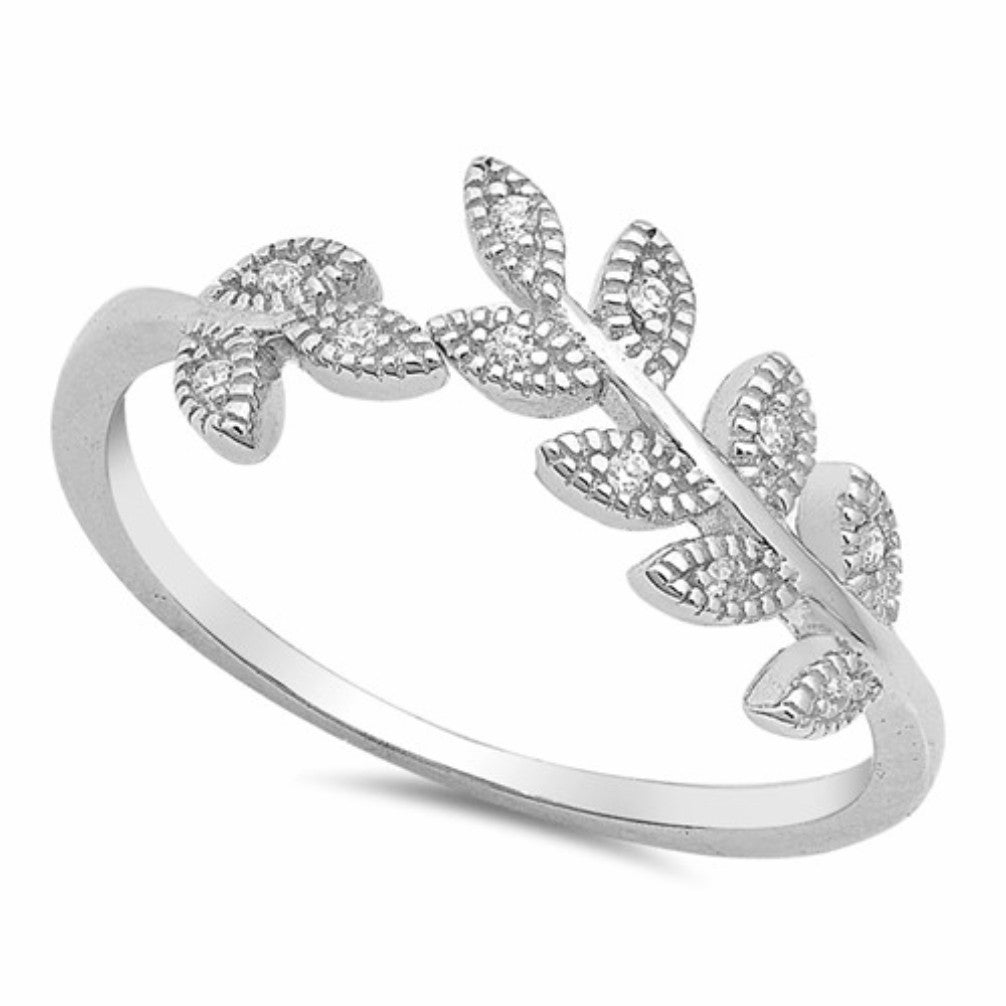 ac08c6baa ... Sterling Silver Leaf Wraparound Band Ladies Fashion CZ Ring Size 4-10.  Product Image . ...