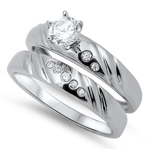 Sterling Silver CZ .75 carat Brilliant Round Cut Prong Set Solitaire Wedding Ring Set 5-10 - Blades and Bling Sterling Silver Jewelry