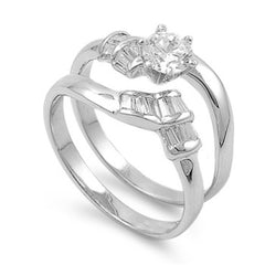 Sterling Silver CZ .75 carat Brilliant Round Cut Channel Wedding Ring Set 5-10 - Blades and Bling Sterling Silver Jewelry