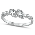 Double diamond marquise cut pre-engagement womens ring in sterling silver
