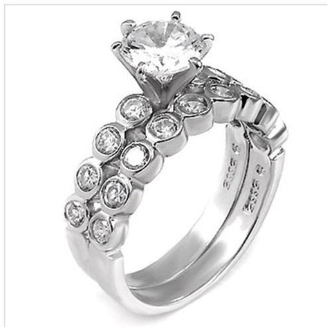 Sterling Silver 2 carat Round cut CZ Bezel set Wedding Ring Set Size 5-9