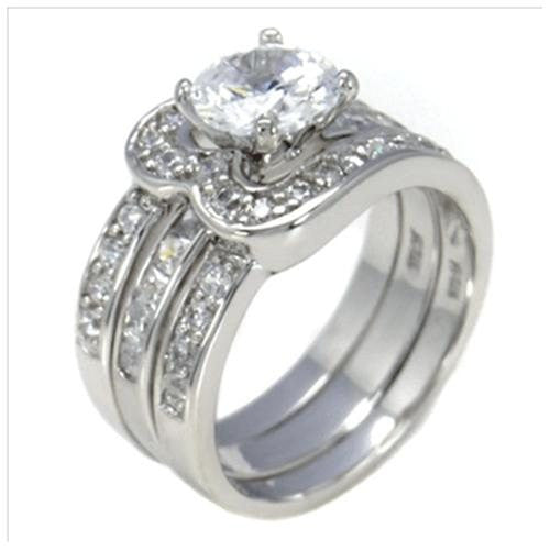 Sterling Silver 2 carat Round cut Engagement Ring and Ring Guard Set size 5-9